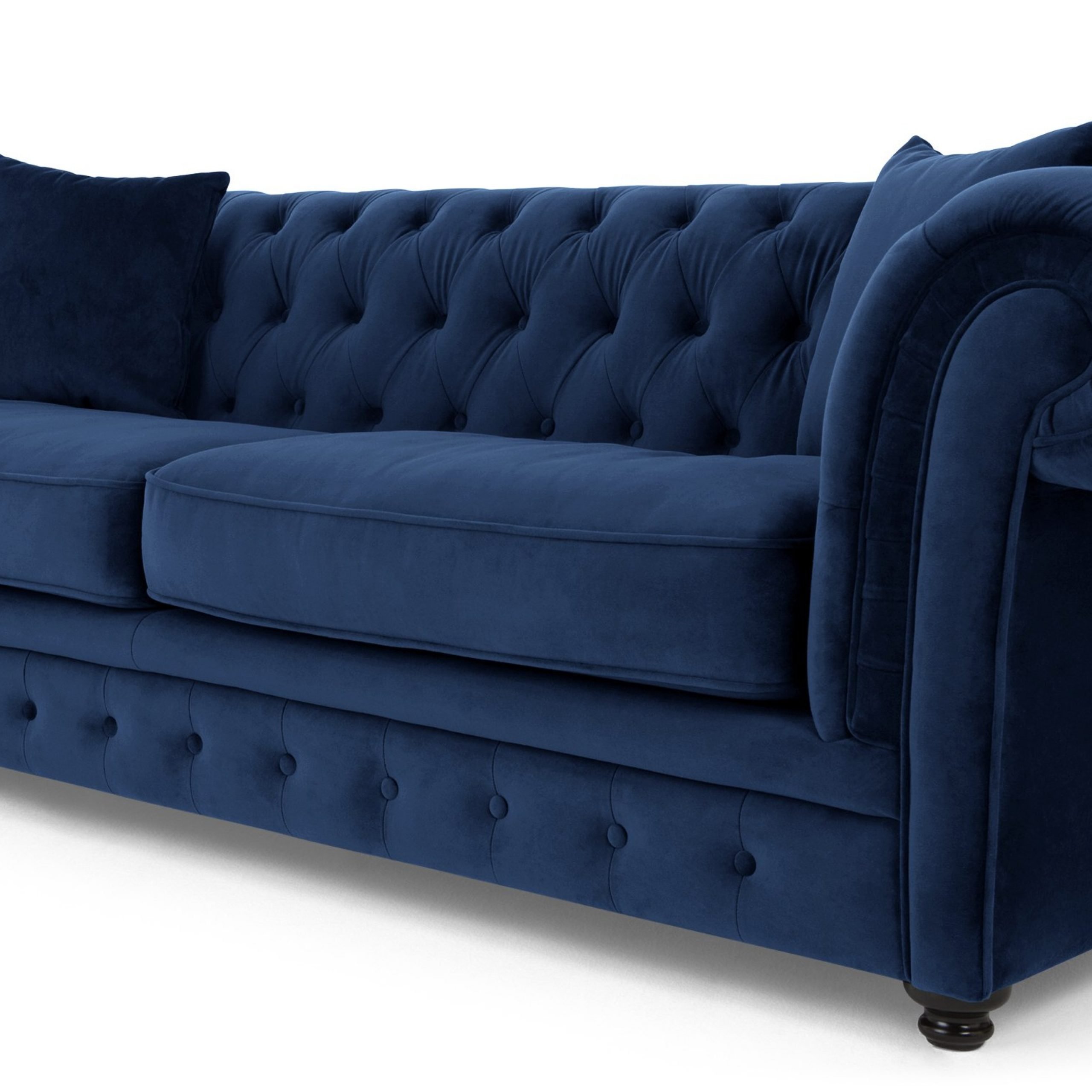 Branagh 3 Seater Chesterfield Sofa, Electric Blue Velvet Intended For Blue Sofa Chairs (View 1 of 15)