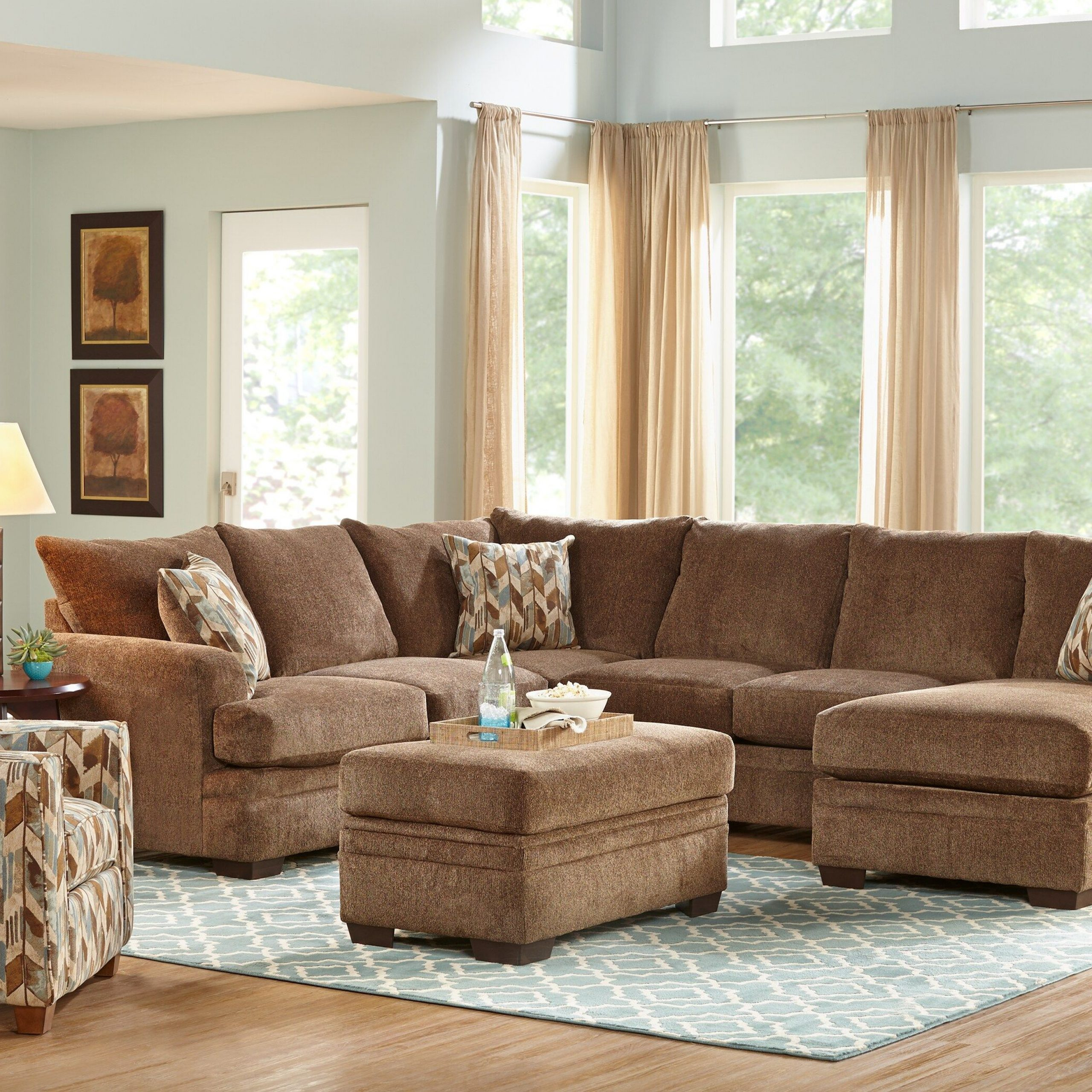Brenton Court 2 Pc Cocoa Sectional | Living Room Sets Pertaining To 2Pc Luxurious And Plush Corduroy Sectional Sofas Brown (View 1 of 15)