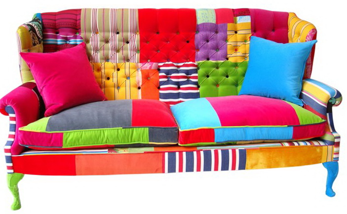 Bright Furniture In The Patchwork   Ideas For Home Garden In Colorful Sofas And Chairs (View 8 of 15)