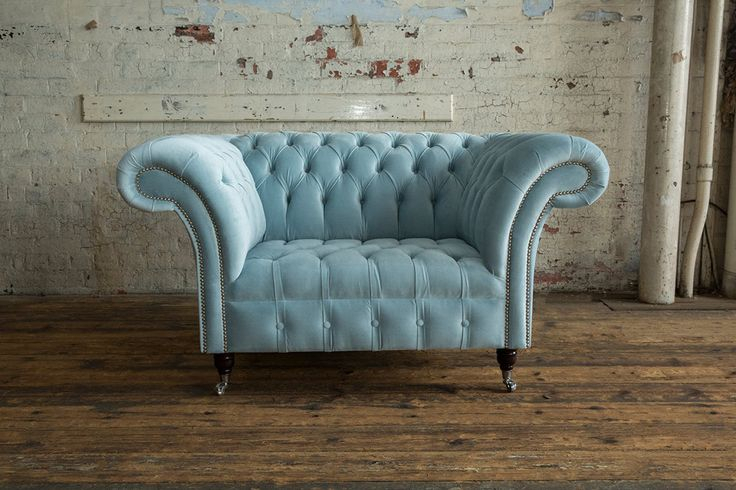 British Handmade Vintage Dusty Blue Velvet Chesterfield Pertaining To Brayson Chaise Sectional Sofas Dusty Blue (View 7 of 15)