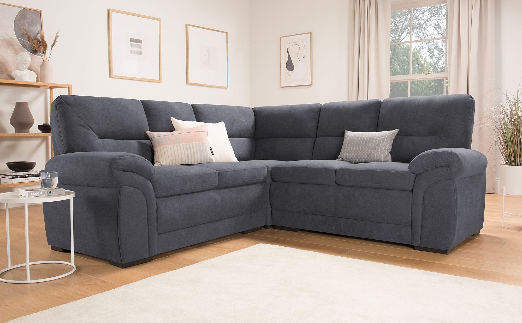 Bromley Slate Grey Plush Fabric Corner Sofa | Furniture Choice Inside Grey Sofa Chairs (View 2 of 15)