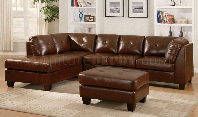 Brown Bonded Leather Modern Sectional Sofa W/Tufted Seats For 3Pc Bonded Leather Upholstered Wooden Sectional Sofas Brown (View 3 of 15)