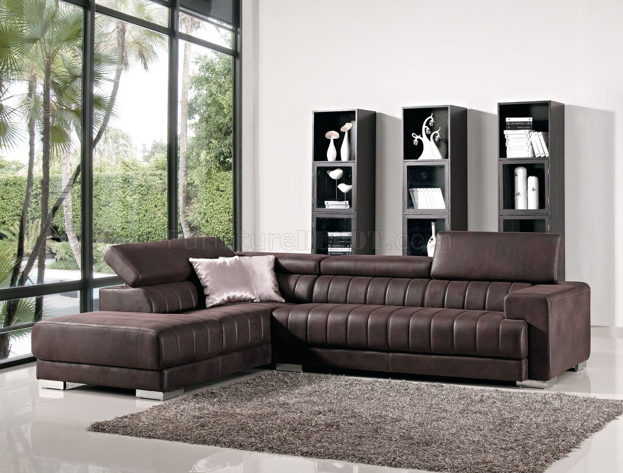Brown Fabric Modern Sectional Sofa W/Adjustable Headrest Regarding Sectional Sofas (View 14 of 15)