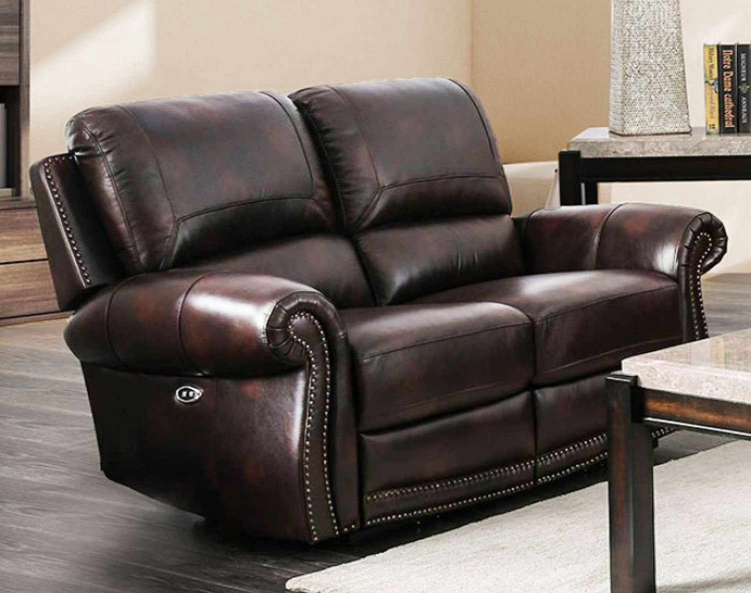 Brown Genuine Leather Power Reclining Sofa & Loveseat Nail For Nolan Leather Power Reclining Sofas (View 2 of 15)