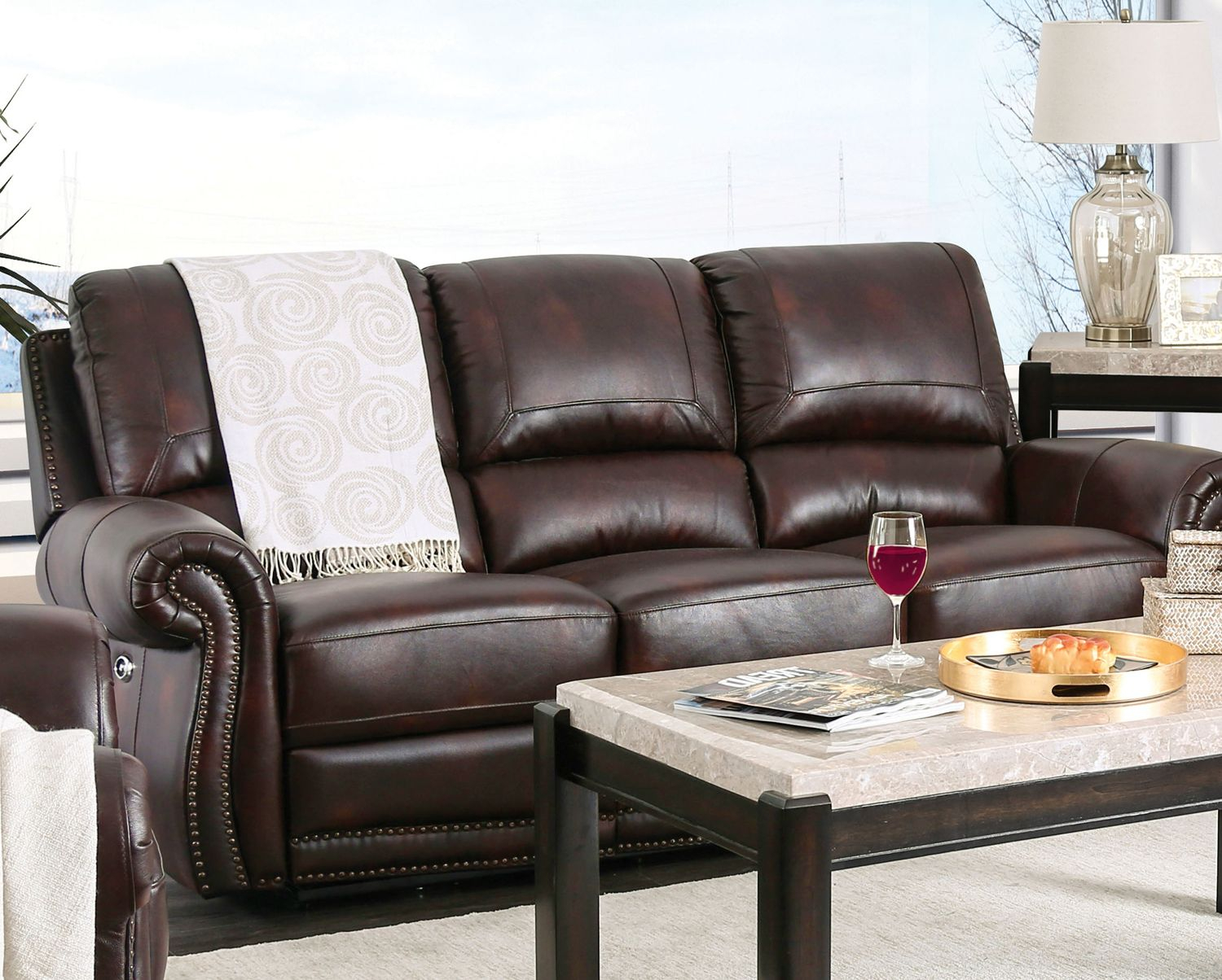 Brown Genuine Leather Power Reclining Sofa Rolled Arms Inside Brown Sofa Chairs (View 6 of 15)