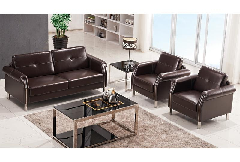 Brown Leather Office Sofa Set | Commerical Furniture With Regard To Office Sofas And Chairs (View 13 of 15)