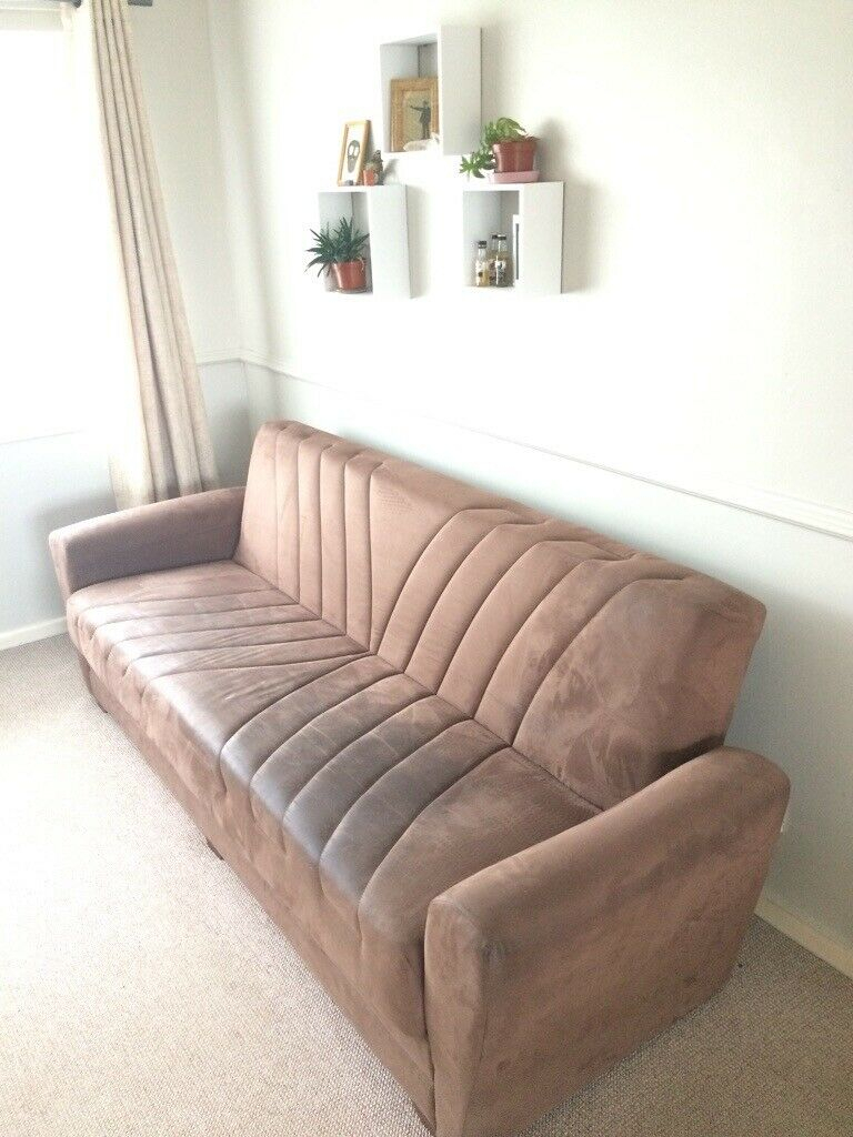 Brown Suede Effect Sofa Bed With Storage   In Goole, East Within Twin Nancy Sectional Sofa Beds With Storage (View 3 of 15)