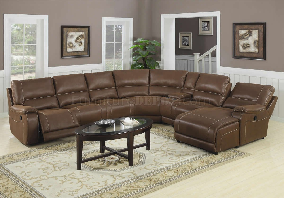 Brown Suede Like Padded Microfiber Reclining Sectional Sofa Regarding Sectional Sofas (View 15 of 15)