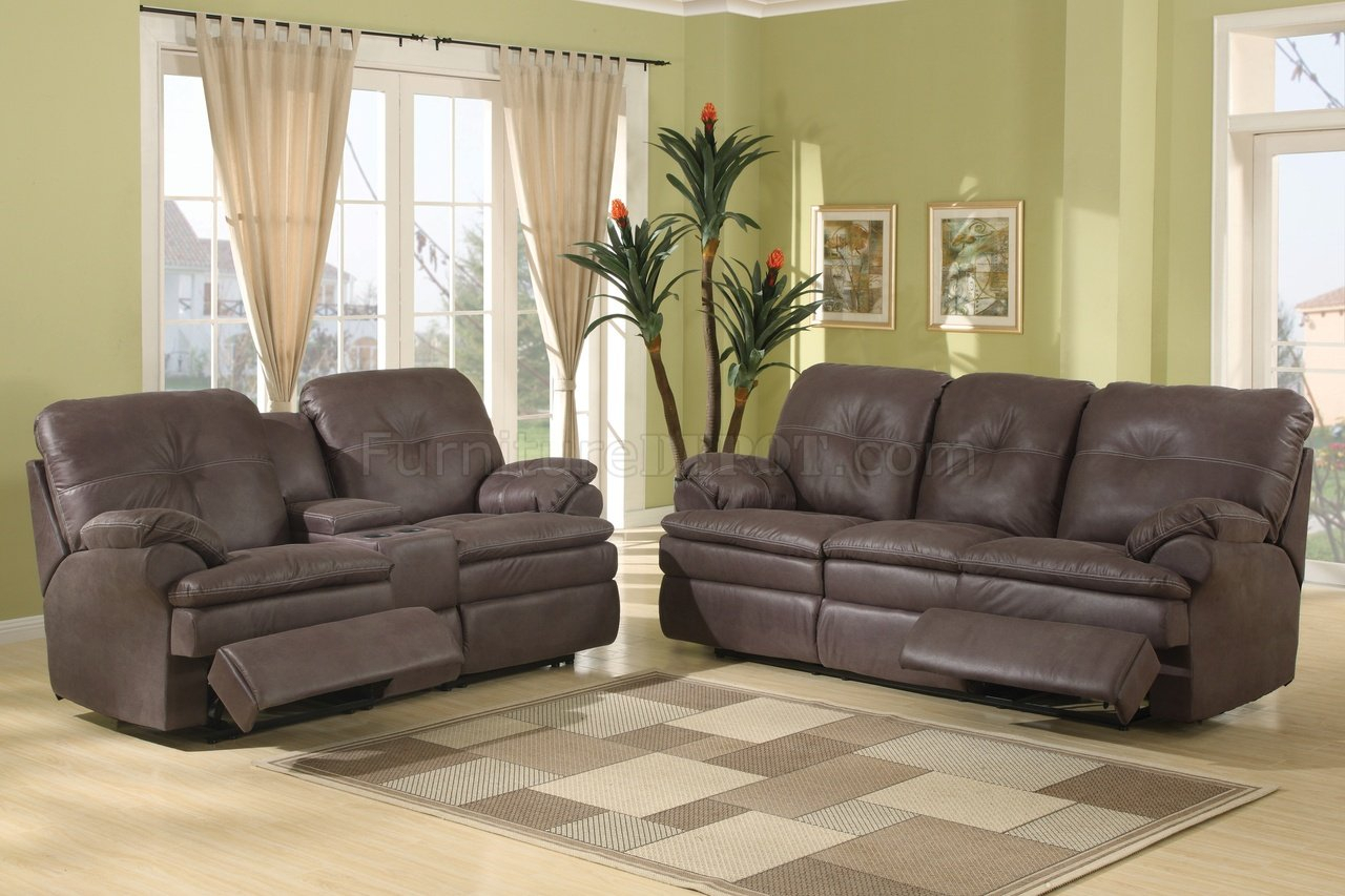 Brown Upgraded Fabric Modern Reclining Sofa W/Optional Items Intended For Contemporary Sofas And Chairs (View 3 of 15)