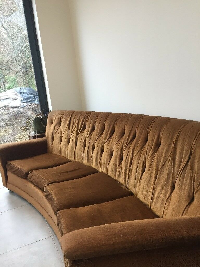 Brown Vintage Curved Four Seater Sofa | In Bristol | Gumtree Intended For Four Seater Sofas (View 6 of 15)
