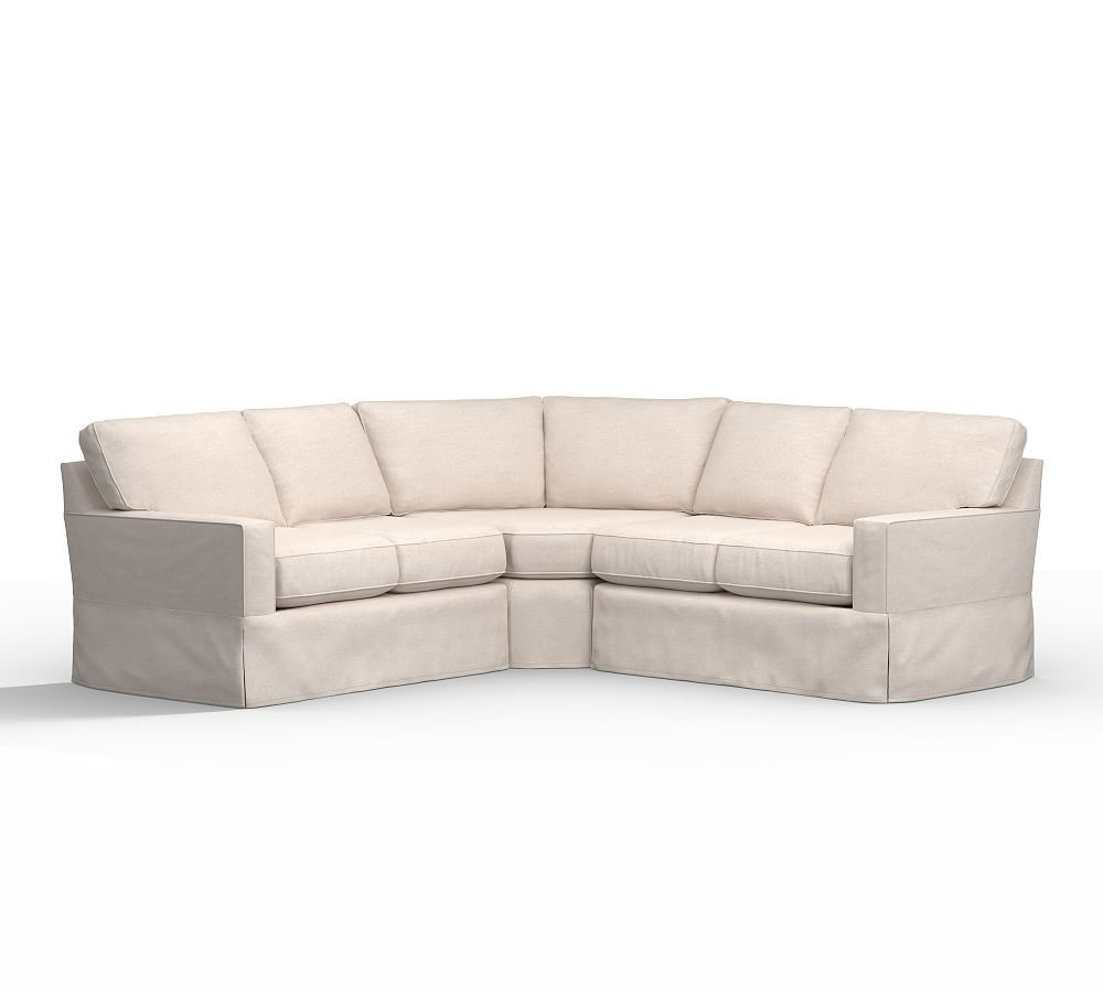 Buchanan Square Arm Slipcovered 3 Piece L Shaped Wedge Pertaining To 3 Piece Sectional Sofa Slipcovers (View 4 of 15)