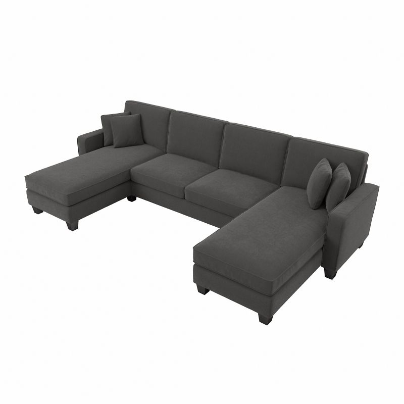 """Bush Furniture Stockton 130W Sectional Couch With Double Inside 130"""" Stockton Sectional Couches With Double Chaise Lounge Herringbone Fabric (View 3 of 15)"""