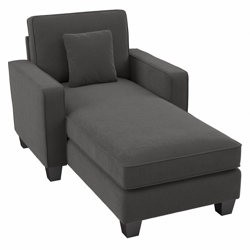 """Bush Furniture Stockton 130W Sectional Couch With Double Regarding 130"""" Stockton Sectional Couches With Double Chaise Lounge Herringbone Fabric (View 5 of 15)"""