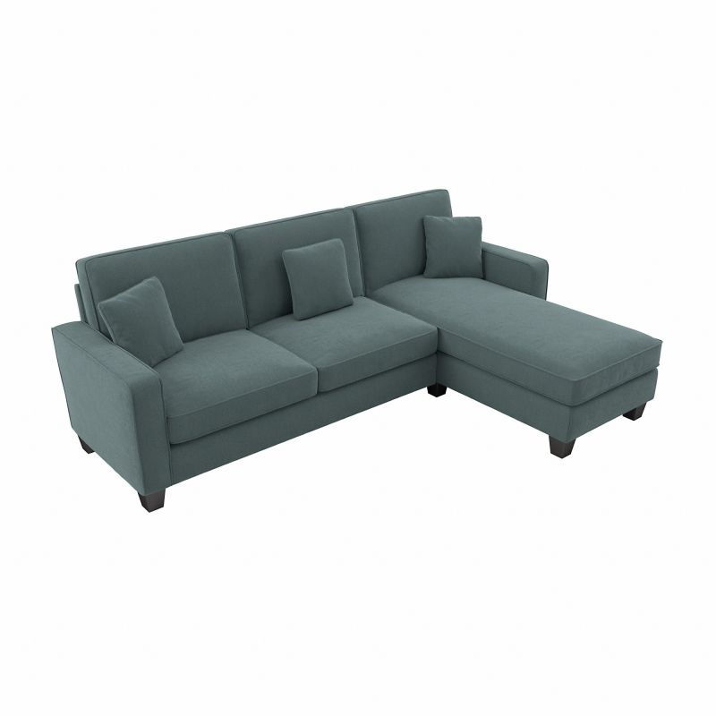 """Bush Furniture Stockton 130W Sectional Couch With Double With Regard To 130"""" Stockton Sectional Couches With Double Chaise Lounge Herringbone Fabric (View 10 of 15)"""