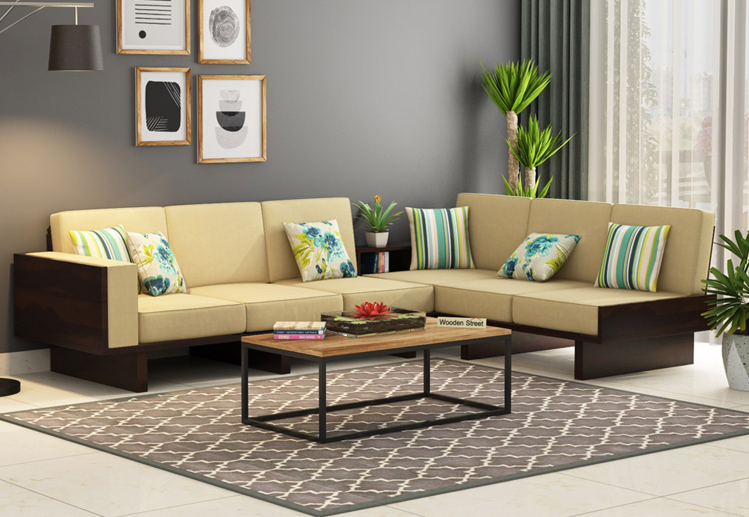 Buy Audrey 6 Seater L Shape Corner Sofa Set (Walnut Finish With Lounge Sofas And Chairs (View 2 of 15)