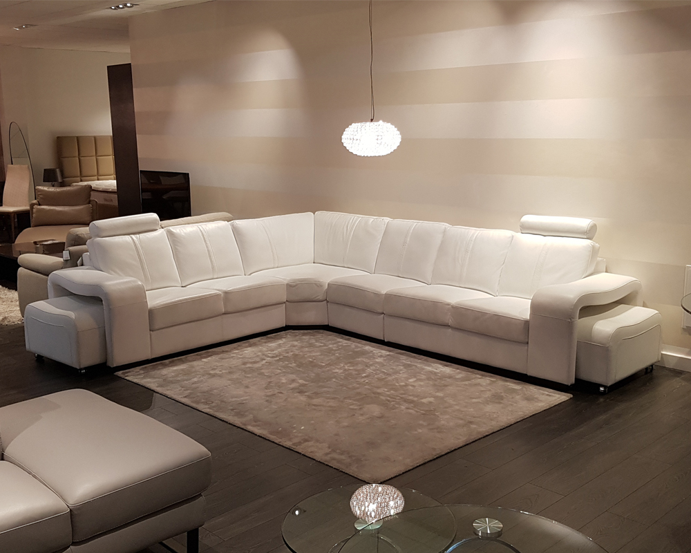 Buy Palermo White Leather Corner Sofa – Ex Display Online With Leather Corner Sofas (View 7 of 15)