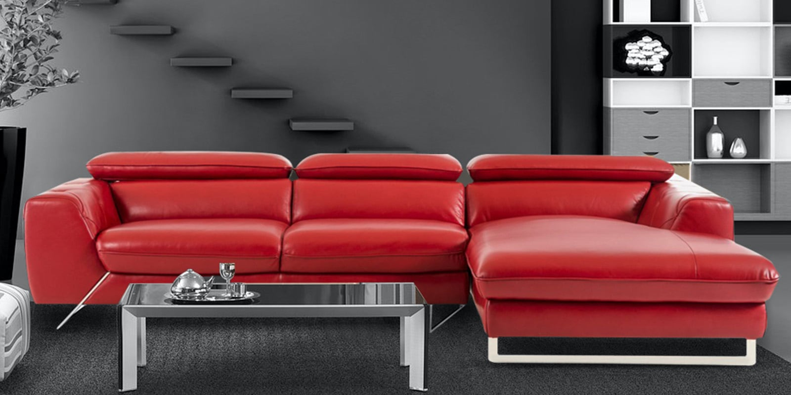 Buy Ultra Modern Lhs 2 Seater Sofa With Lounger In Red Regarding Contemporary Sofas And Chairs (View 2 of 15)