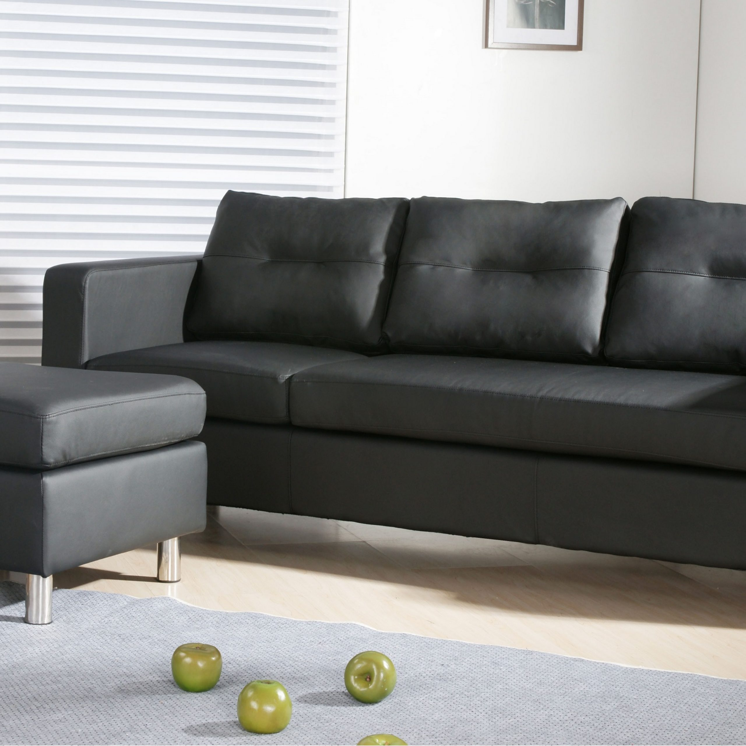 Caius Modern Faux Leather Configurable Left And Right Throughout Wynne Contemporary Sectional Sofas Black (View 1 of 15)