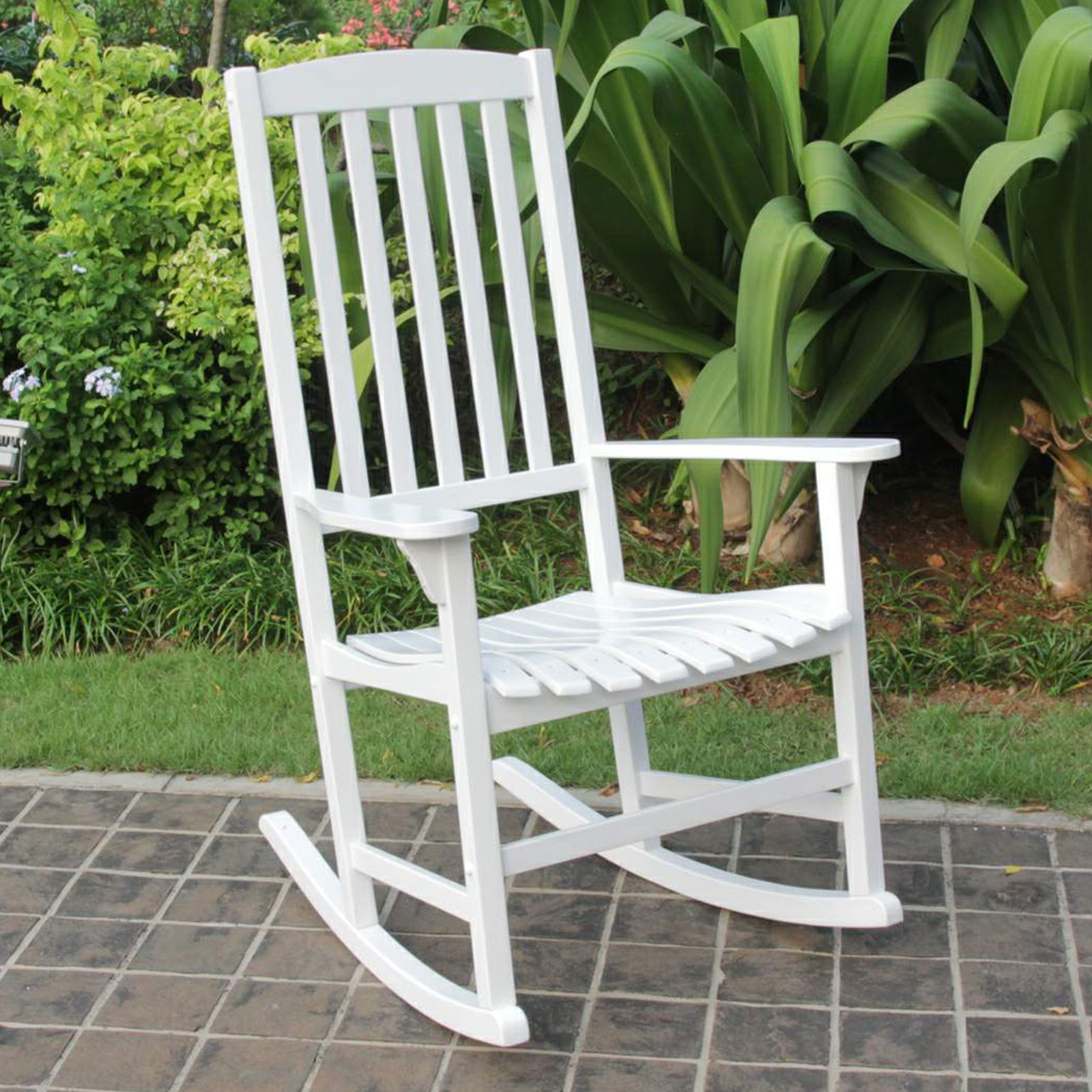Cambridge Casual Wood Slat Back Outdoor Rocking Chair Throughout Rocking Sofa Chairs (View 3 of 15)