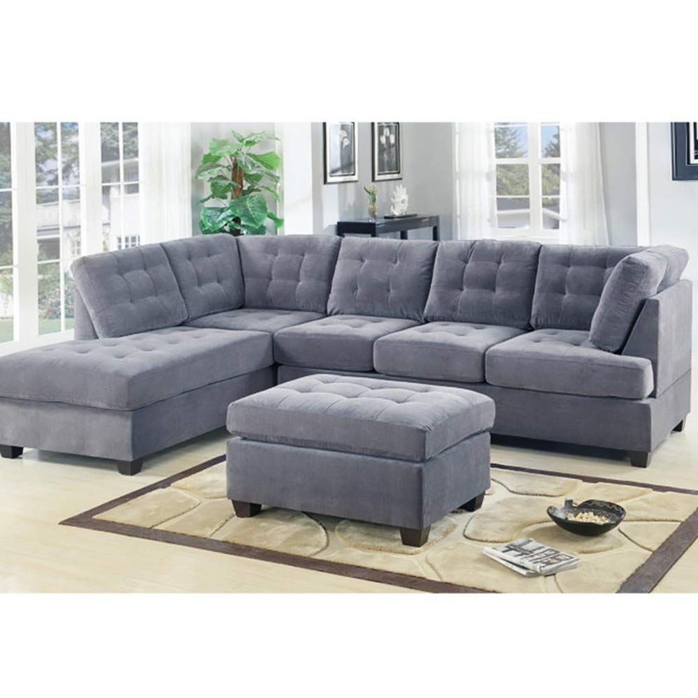 Casa Andreamilano 2 Piece Modern Grey Soft Tufted Micro Throughout 2Pc Crowningshield Contemporary Chaise Sofas Light Gray (View 6 of 15)