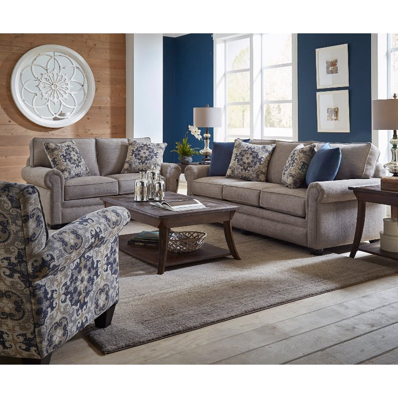 Casual Traditional Taupe Sofa Bed 2 Piece Living Room Set Regarding Casual Sofas And Chairs (View 10 of 15)