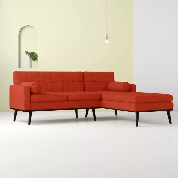 """Catalina 55"""" Wide Right Hand Facing Modular Sofa & Chaise Throughout Somerset Velvet Mid Century Modern Right Sectional Sofas (View 9 of 15)"""