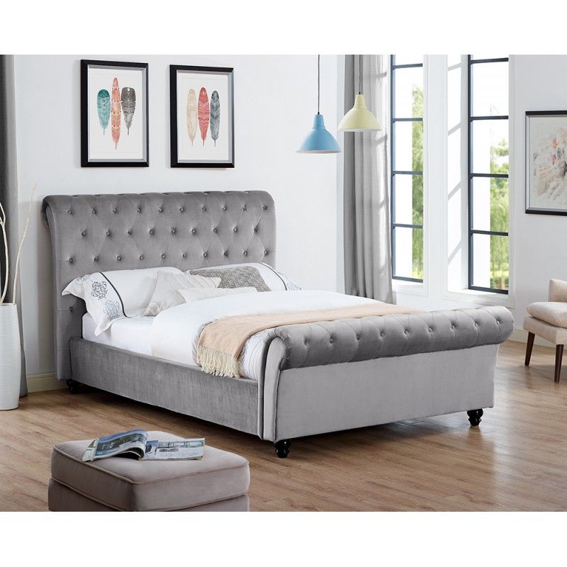 Celine Plain Velvet Double Or King Size Grey Silver Throughout Celine Sectional Futon Sofas With Storage Camel Faux Leather (View 15 of 15)