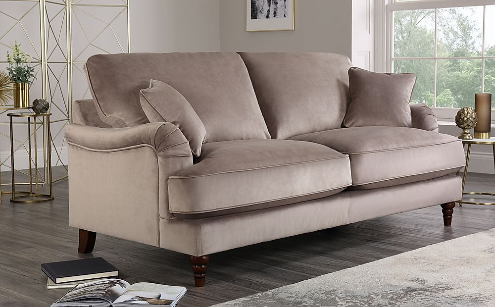 Charleston Mink Velvet 3 Seater Sofa | Furniture Choice For Charleston Sofas (View 1 of 15)