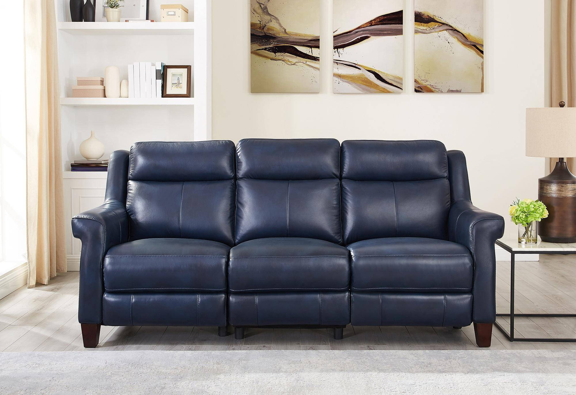 Chatham Blue Genuine Leather Power Reclining Sofa Loveseat With Regard To Power Reclining Sofas (View 4 of 15)