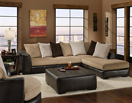 Chelsea Home Furniture Amherst 2 Piece Sectional, San Pertaining To 2Pc Luxurious And Plush Corduroy Sectional Sofas Brown (View 8 of 15)