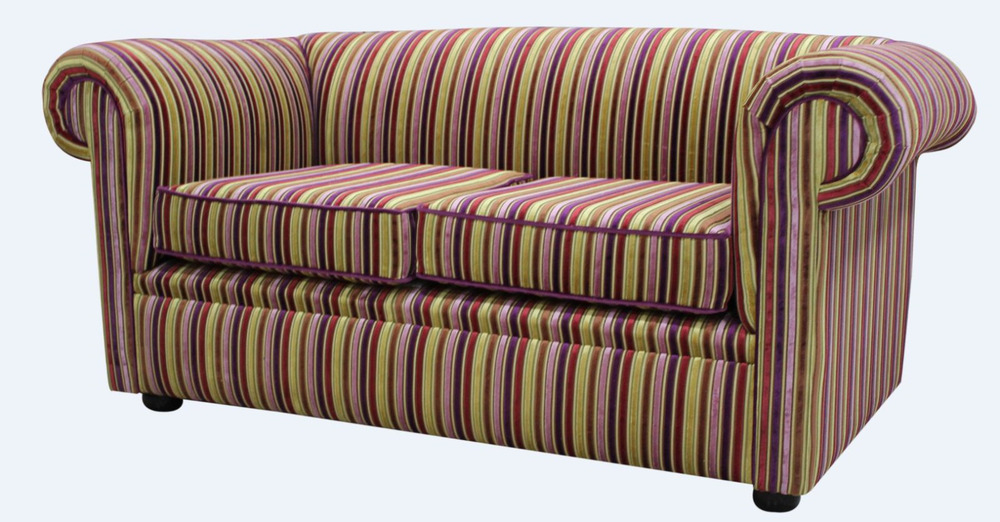 Chesterfield 1930'S 2 Seater Riga Multi Stripe 08 Velvet Pertaining To Striped Sofas And Chairs (View 15 of 15)