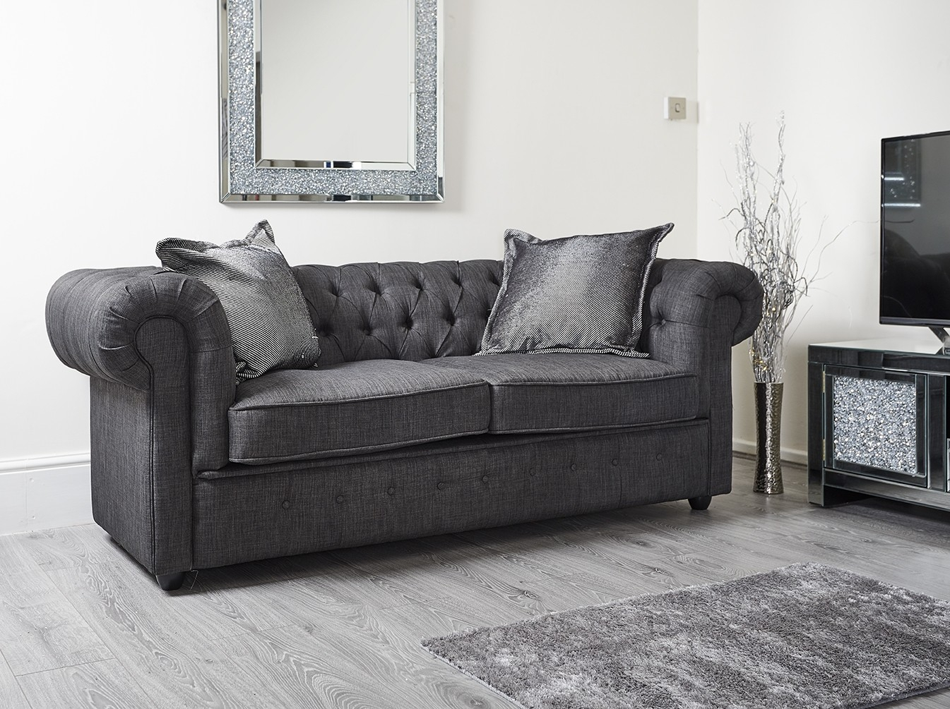 Chesterfield Black Pu Leather Sofa | Abreo Abreo Home With Canterbury Leather Sofas (View 8 of 12)