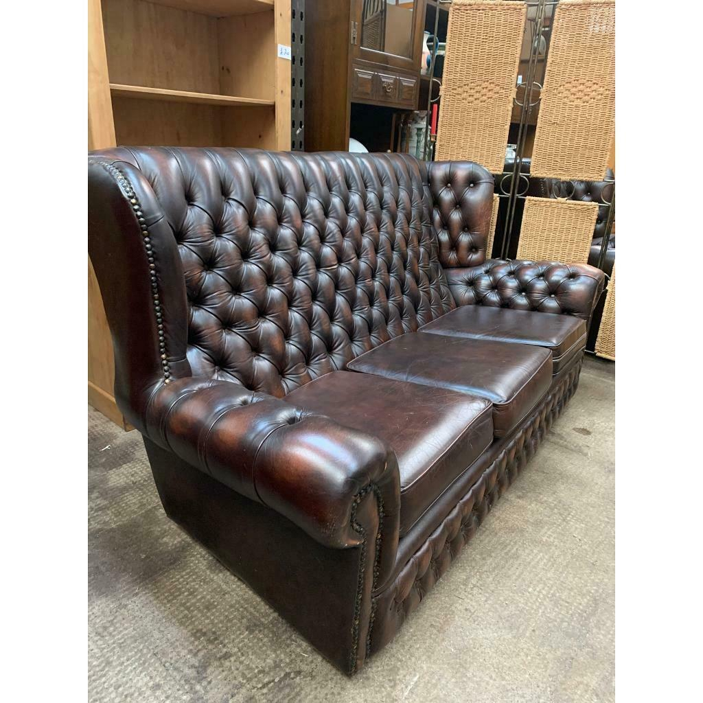 Chesterfield Brown Leather Sofa | In Paisley, Renfrewshire Throughout Leather Chesterfield Sofas (View 9 of 15)