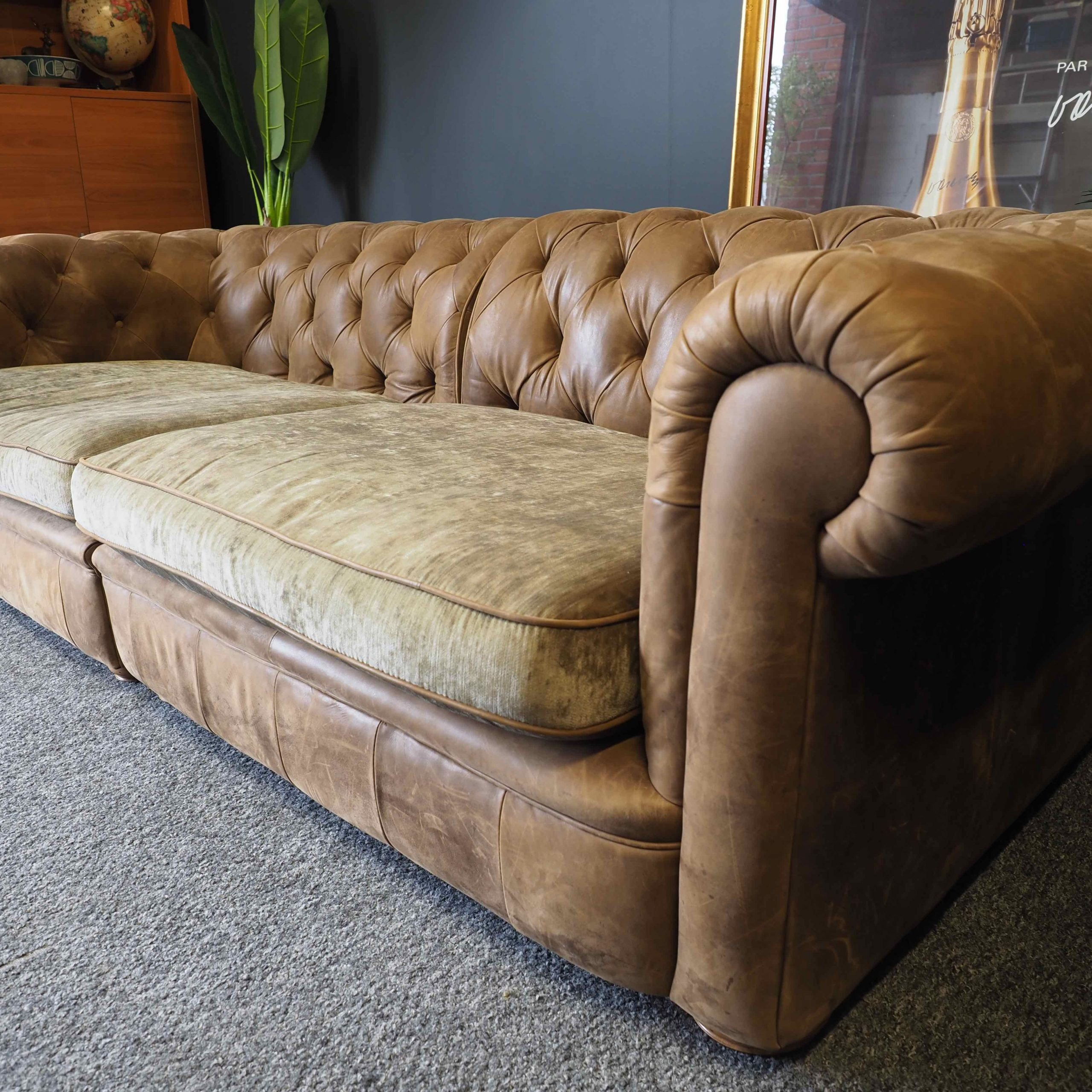 Chesterfield Style Vintage Four Seater Sofa Settee Brown Throughout 4 Seater Sofas (View 2 of 15)