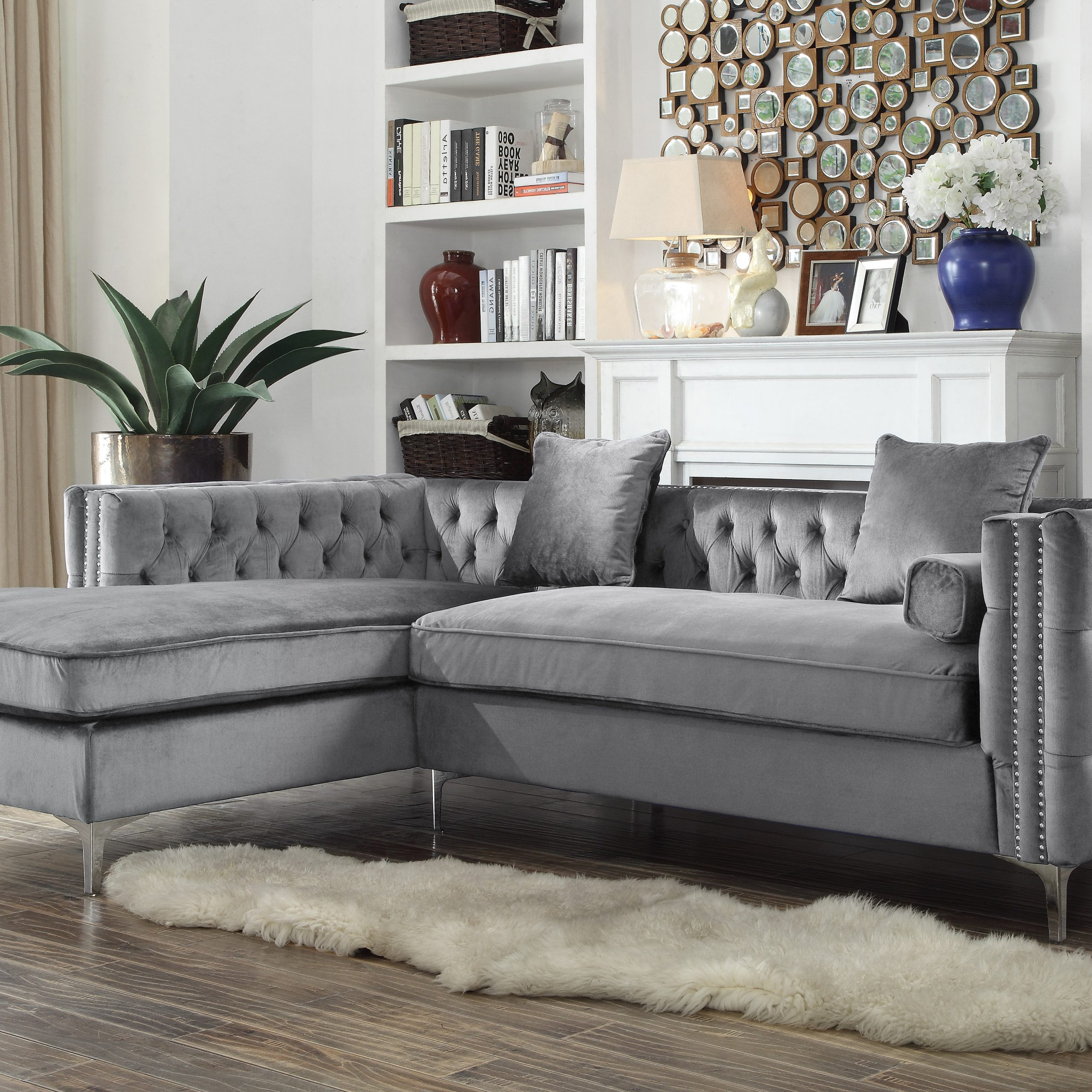 Chic Home Monet Velvet Modern Button Tufted Sectional Sofa With Regard To Ludovic Contemporary Sofas Light Gray (View 9 of 15)