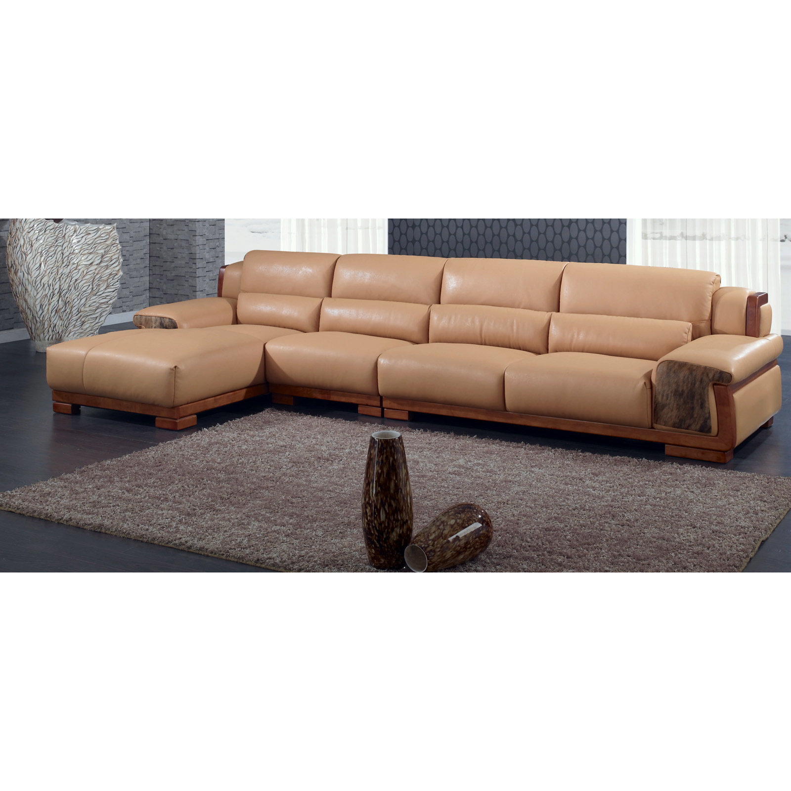 Chintaly Omaha Camel Leather Armless Chair And Sectional In Armless Sectional Sofas (View 5 of 15)