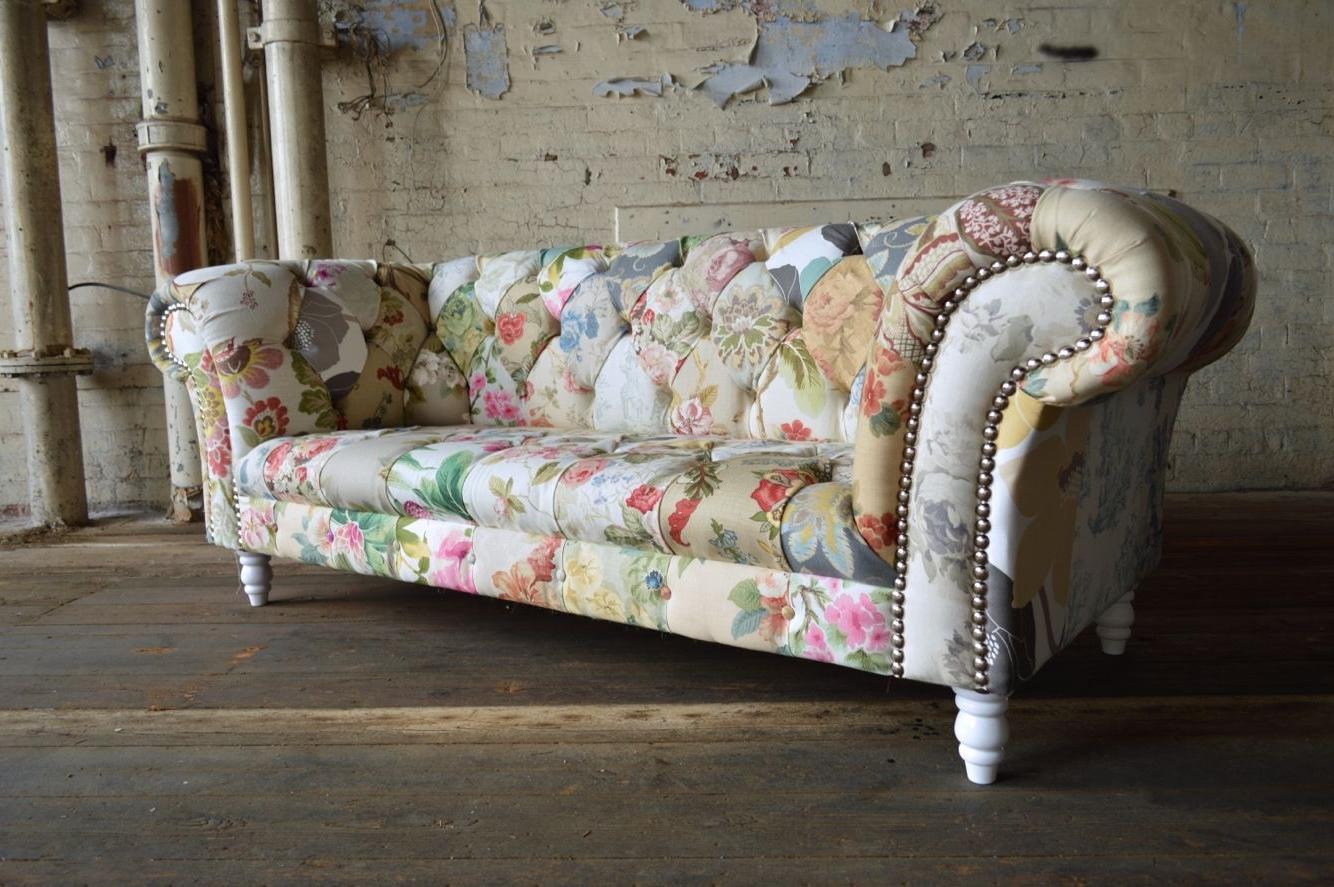 Chintz Sofa Elegantes Sofa Couch Chintz Satin Goldfarbe For Chintz Sofas (View 14 of 15)