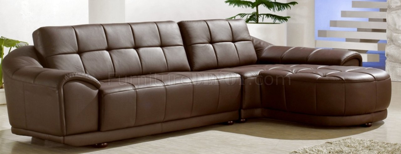 Chocolate Brown Bonded Leather Modern Stylish Sectional Sofa Inside 3Pc Bonded Leather Upholstered Wooden Sectional Sofas Brown (View 5 of 15)