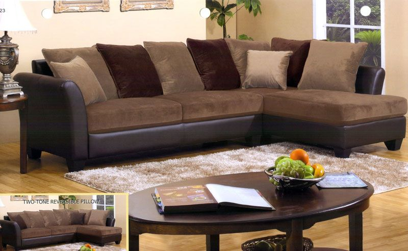 Chocolate Brown Sectional Sofa With Chaise – Redboth Intended For 2Pc Luxurious And Plush Corduroy Sectional Sofas Brown (View 6 of 15)