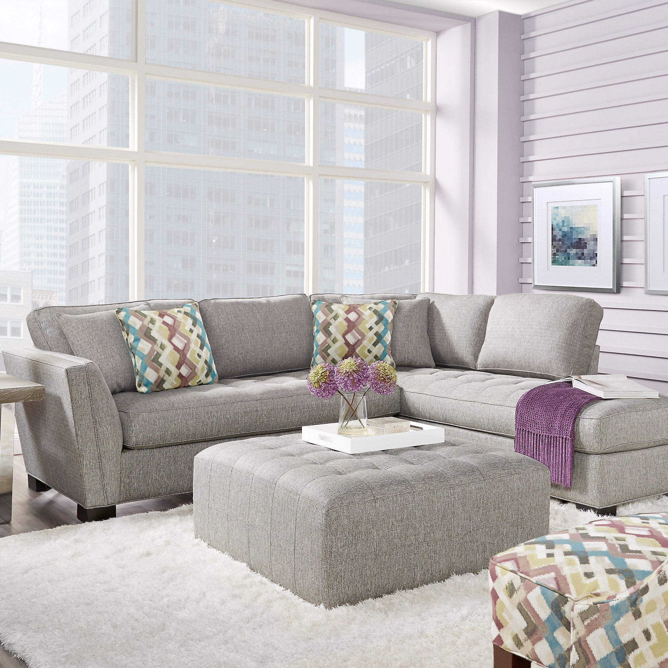 Cindy Crawford Home Calvin Heights Gray 2 Pc Sectional For Calvin Concrete Gray Sofas (View 2 of 15)