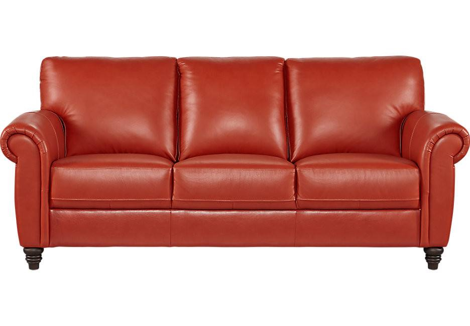Cindy Crawford Home Lusso Papaya Leather Sofa – Designs Chaos Within Cindy Crawford Sofas (View 13 of 15)