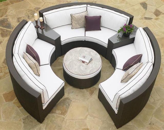 Circular Patio Sectional – Dark Wicker – Modern – Outdoor For Circular Sofa Chairs (View 12 of 15)