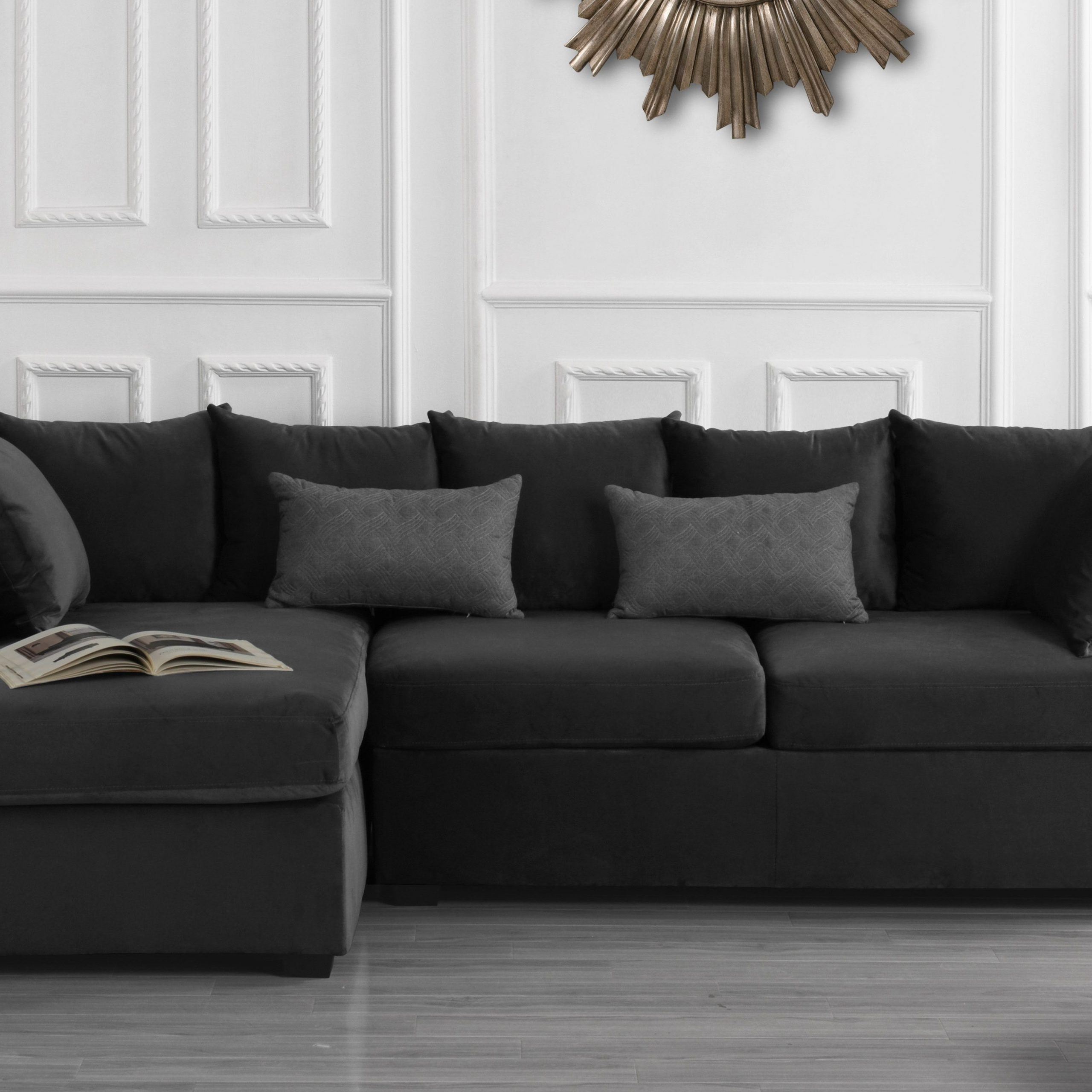 Classic L Shape Couch Large Velvet Sectional Sofa With Inside Big Sofa Chairs (View 1 of 15)