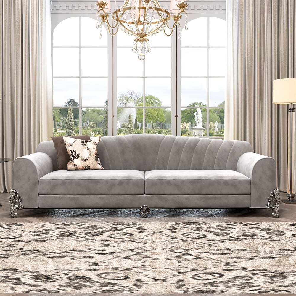Classic Luxury Nubuck Leather Grey Sofa – Juliettes Interiors Inside Grey Sofa Chairs (View 11 of 15)