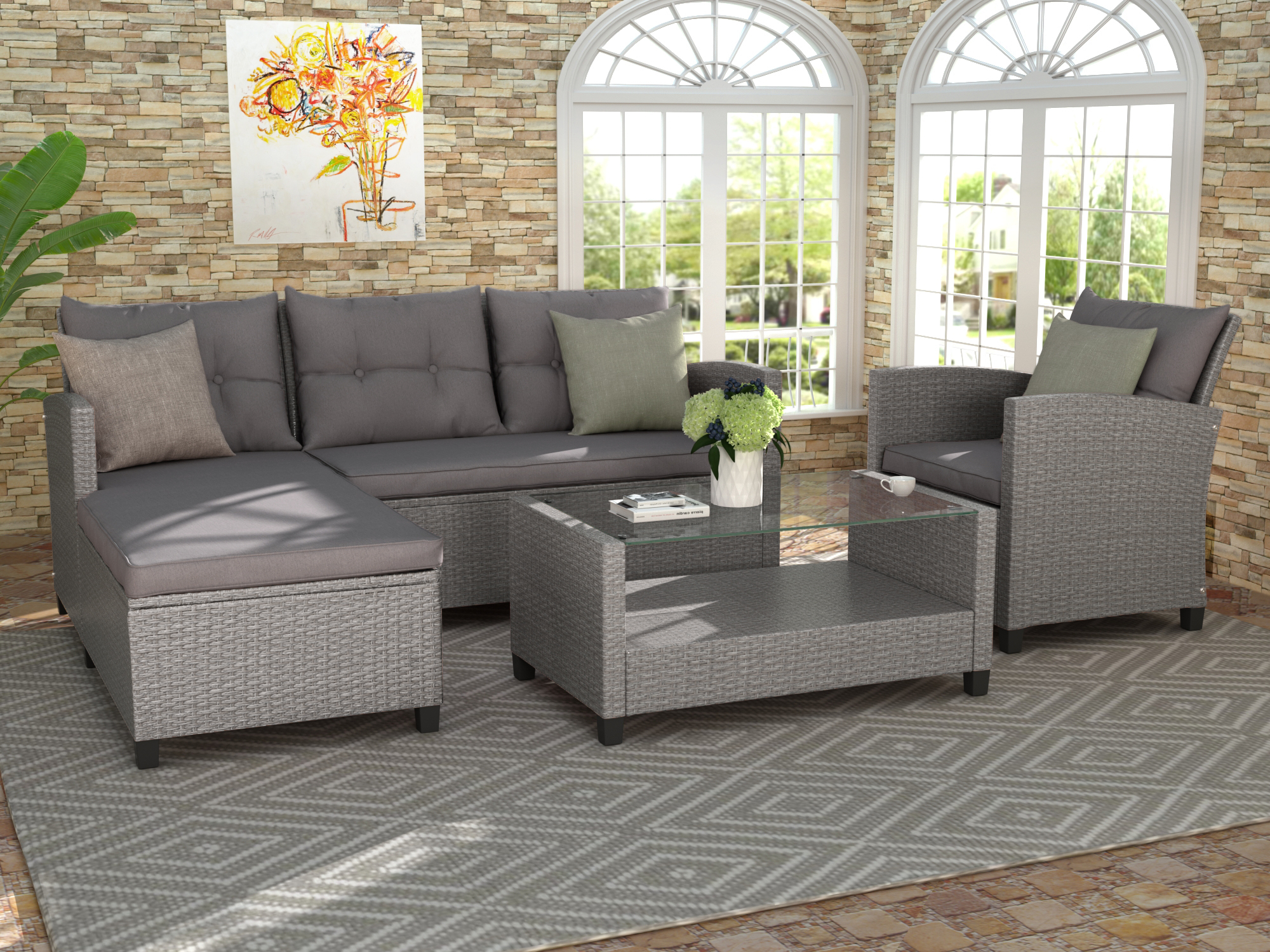 Clearance! Rattan Patio Sofa Set, 4 Pieces Outdoor Within Outdoor Sofa Chairs (View 8 of 15)
