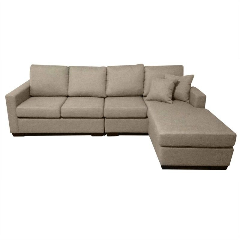 Club Fabric 4 Seater Sofa With Reversible Chaise – Taupe Intended For Four Seater Sofas (View 9 of 15)