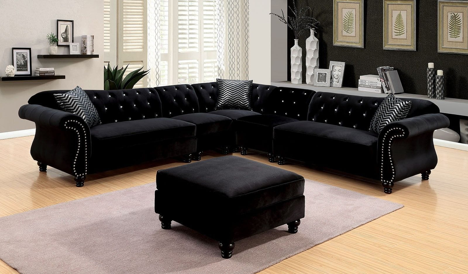 Cm6158Bk Jolanda Black Traditional Sectional Sofa – Luchy Regarding Lounge Sofas And Chairs (View 6 of 15)