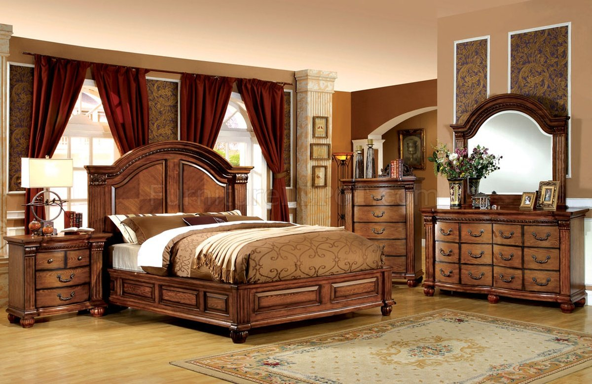 Cm7738 Bellagrand Bedroom In Tobacco Oak W/Options With Bedroom Sofas And Chairs (View 9 of 15)