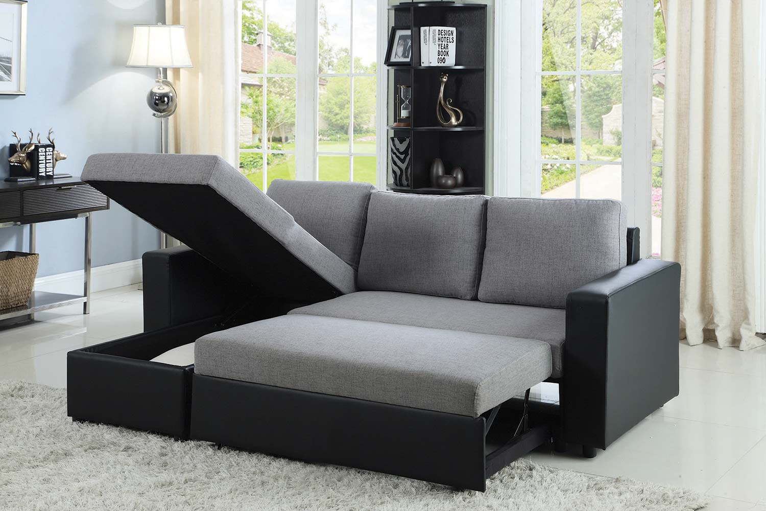 Coaster Baylor Sectional Sofa – Grey/Black 503929 At With Regard To Felton Modern Style Pullout Sleeper Sofas Black (View 3 of 15)
