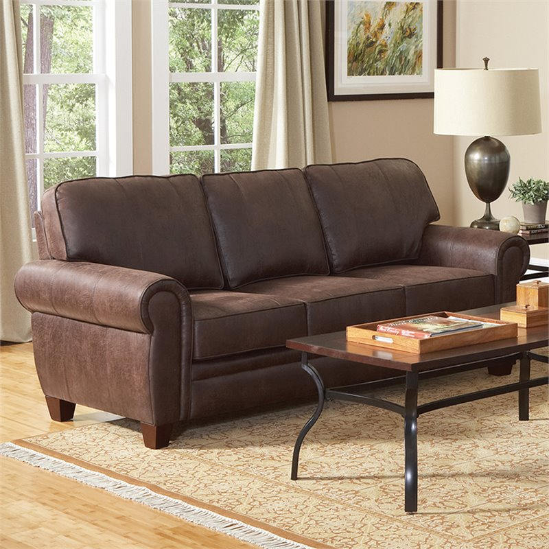 Coaster Bentley Elegant And Rustic Microfiber Sofa In Within Brown Sofa Chairs (View 5 of 15)